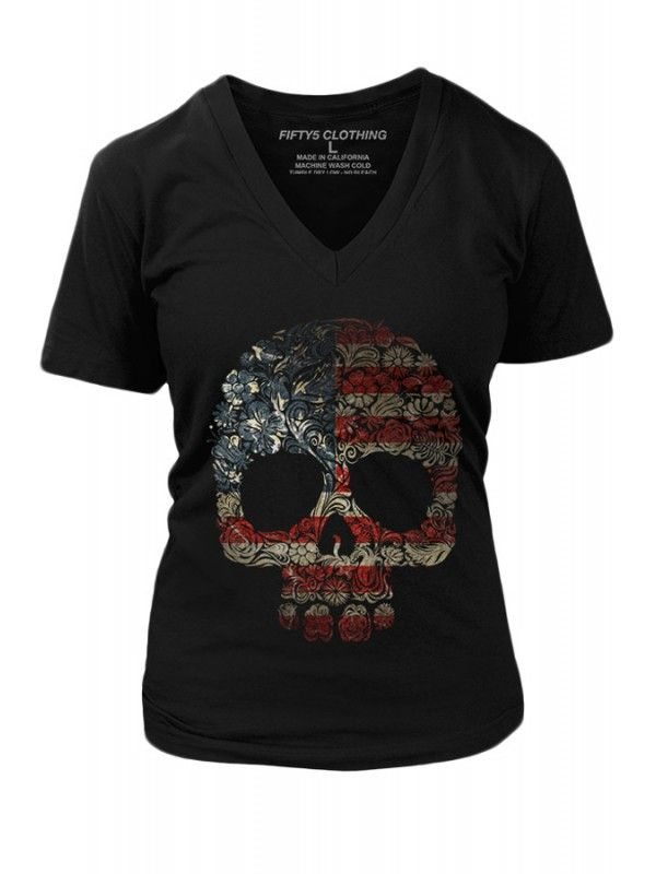 Fifty5 Clothing Women's Floral Skull Flag Vintage T-Shirt