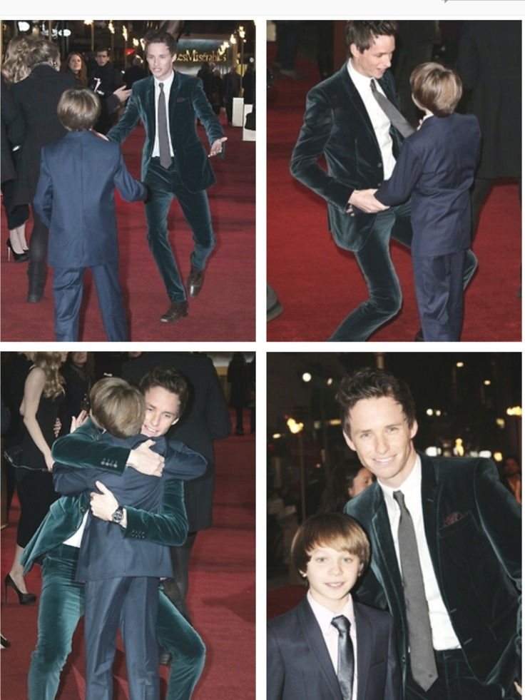 I love it when someone is truly happy to see someone and they let it show. Such is the scene of these photos of Eddie Redmayne and one of the younger cast members from Les Mis, Daniel Huddlestone.