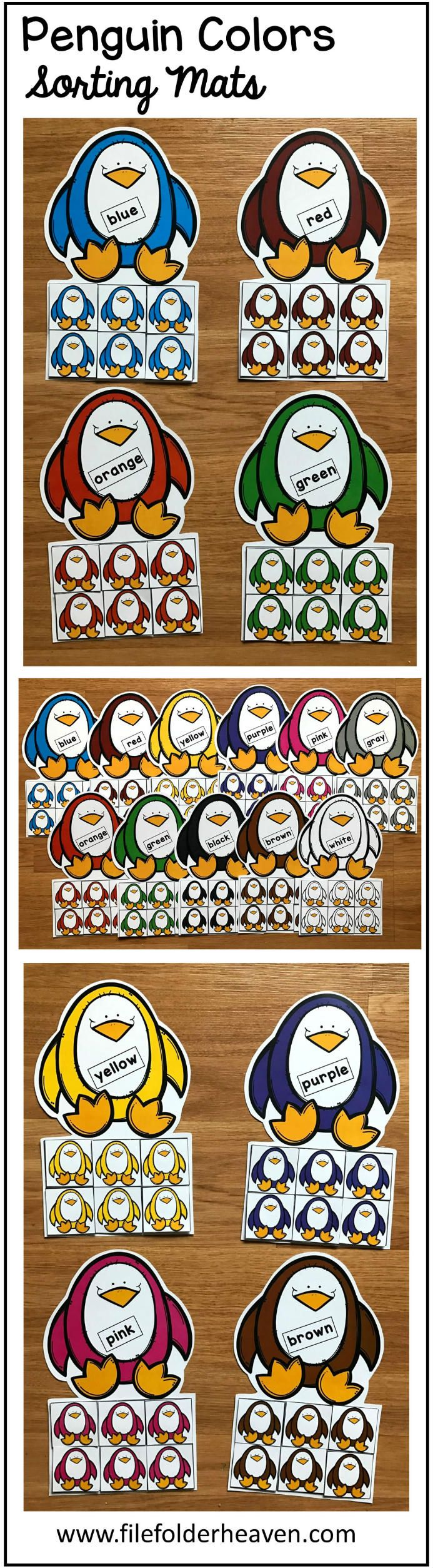 These Penguins Color Sorting Mats include 11 unique sorting mats that focus on sorting penguins by color.  In a center or independent work station, students sort colored penguins into the penguin mat that is the same color.  Colored mats included are:  red blue green orange yellow pink purple brown gray black white