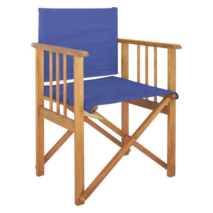 AFRICA Oak Directoru0027s Chair With Cobalt Blue Sling
