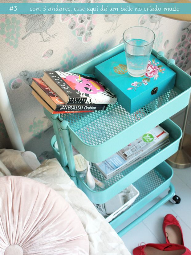 such a nice ideaDecor, Raskog Cart, Ideas, Dorm Room, Ikea Kitchen, Ikea Carts, Bedside Tables, Small Spaces, Night Stands
