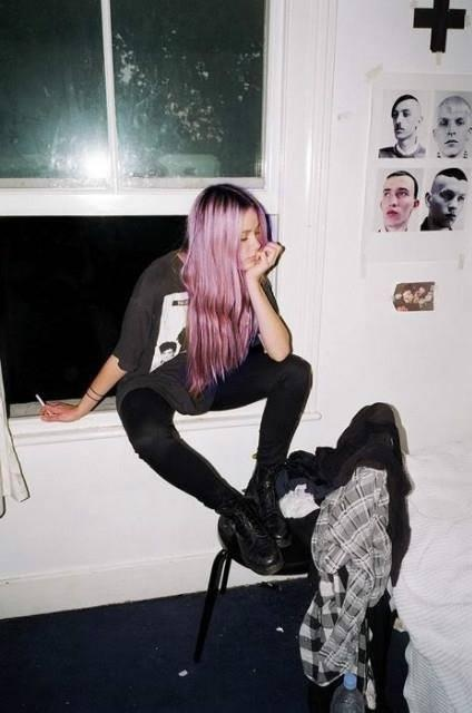 pink metallic hair