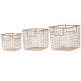 Square Copper Utility Baskets set of 3