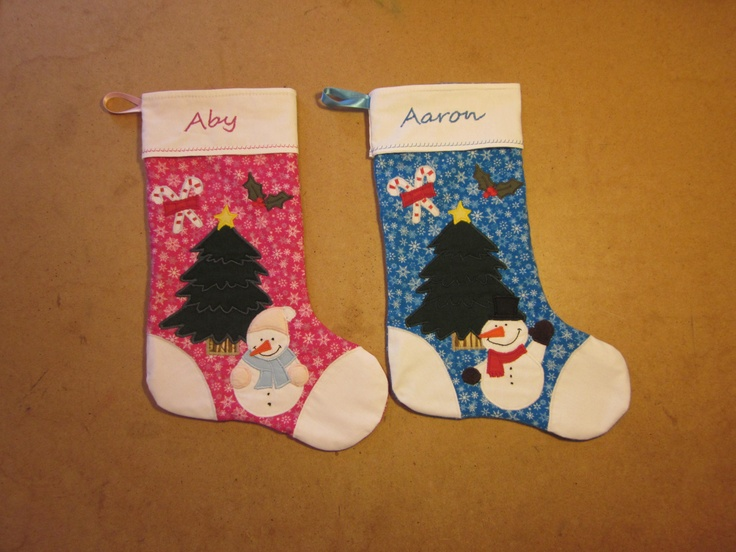 Applique Xmas stockings made by me