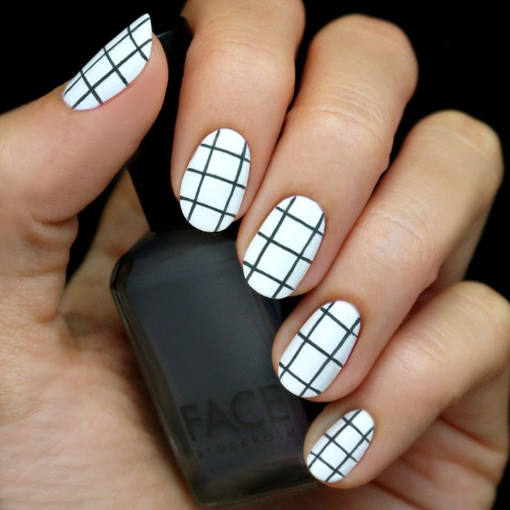 Grey and White Grid Nail Short, active, natural length nails  free hand nail art,  how to get the look,  tutorial