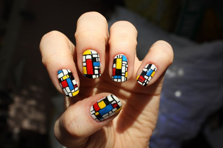 "zebber: "" Neoplasticism Nails inspired by Piet Mondrian Polishes: Sally Hansen - White On Nail Jazz Nail Pens - Black, Red, Yellow & Blue """