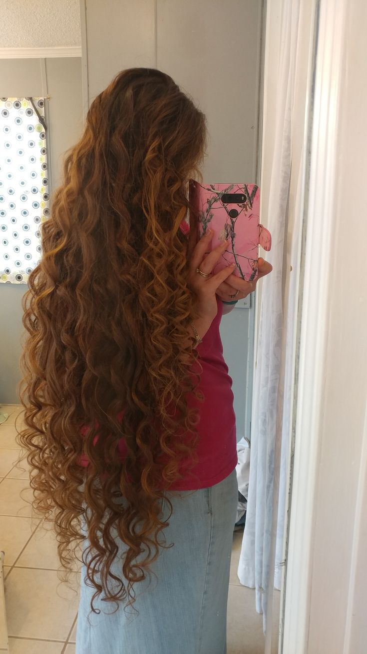 long curly hair, remington hair wand, knee length hair