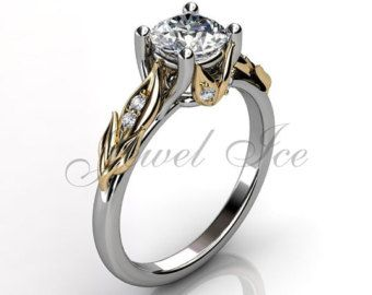 Lotus Flower Engagement Ring 14k white gold diamond by Jewelice