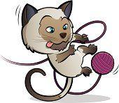 Siamesische Katze spielen