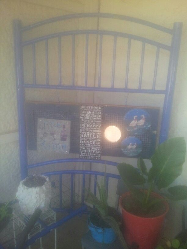 Upcycled bed ends & hanging cupboard door. Add chicken wire, tin lids & metal signs for cool front verandah art/display.