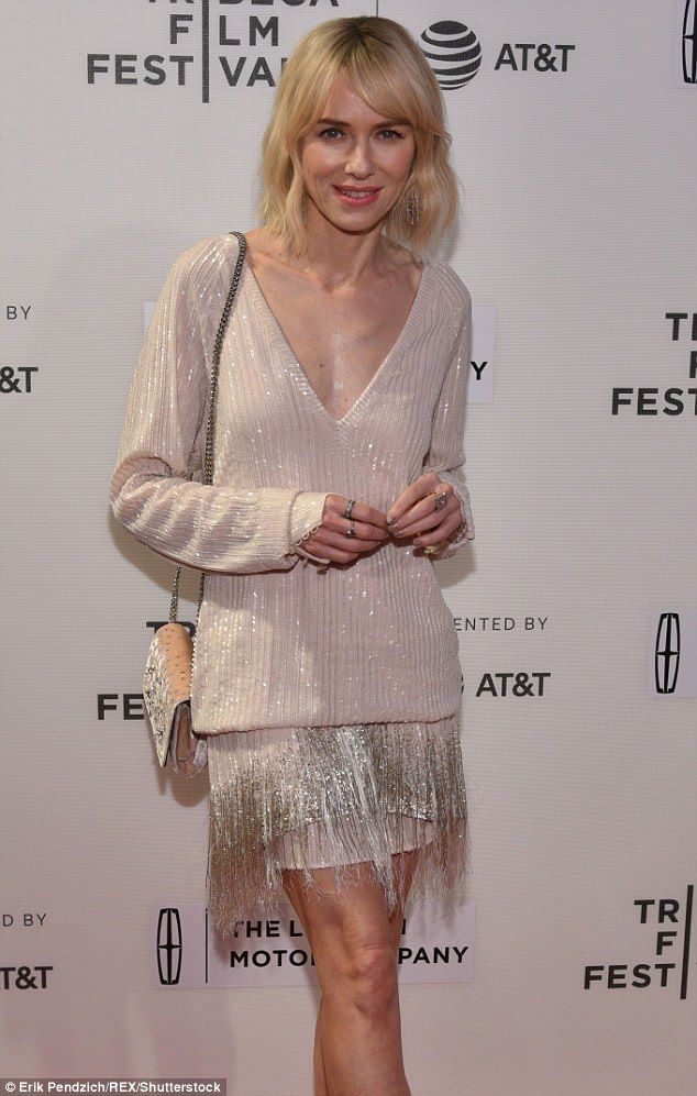 She sparkles: Naomi Watts looked elegant in a cream frock with silver details at a screening of Chuck at Tibeca Film Festival in New York Friday