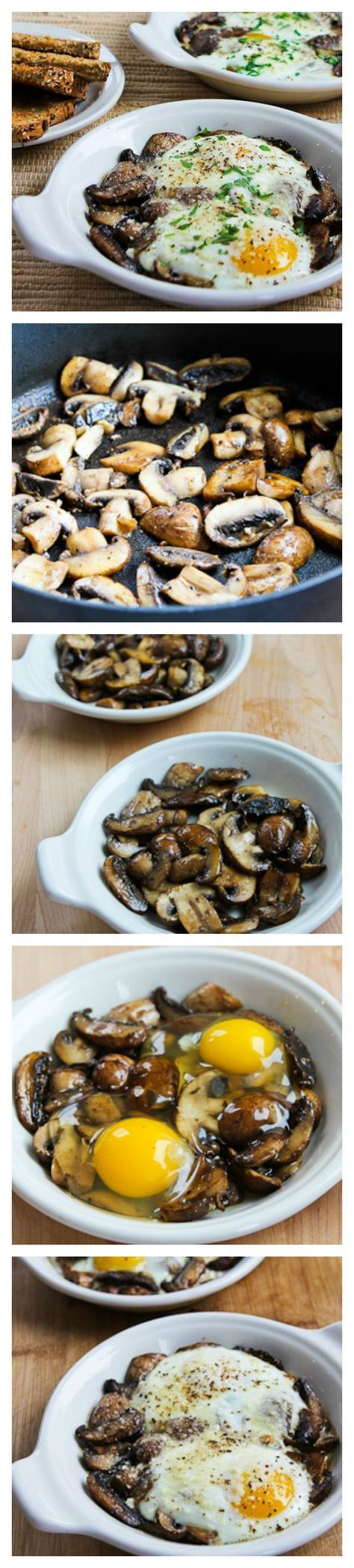 Baked Eggs with Mushrooms and Parmesan are an easy-but-impressive breakfast for guests, or just when you want something a bit more special for breakfast.  The recipe has a great tip for getting the egg white cooked without over-cooking the yolk. Eat with toast or skip the toast for a Low-Carb and Gluten-Free breakfast. [found on http://KalynsKitchen.com]