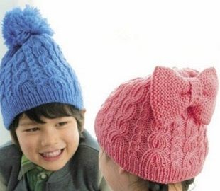Схемы детских шапок спицами