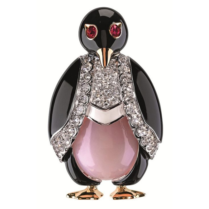 Friedrich Lady Penguin Enamel Diamond Brooch | From a unique collection of vintage brooches at http://www.1stdibs.com/brooches/brooches/