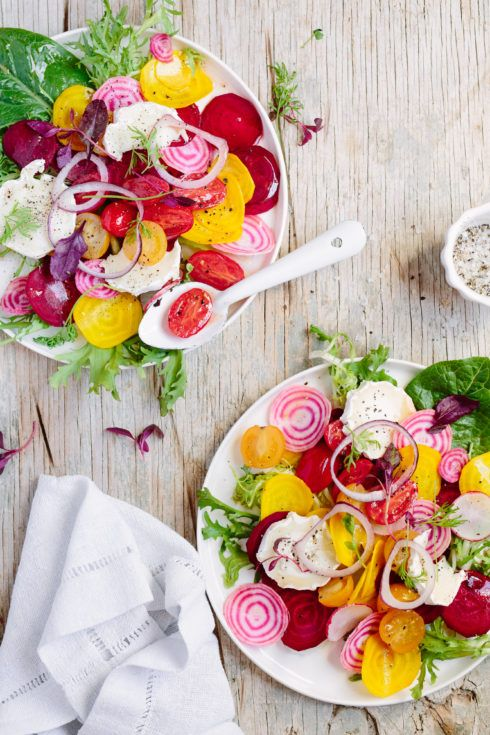 Beetroot salad with marinated tomatoes and goats cheese  |  The Food Fox