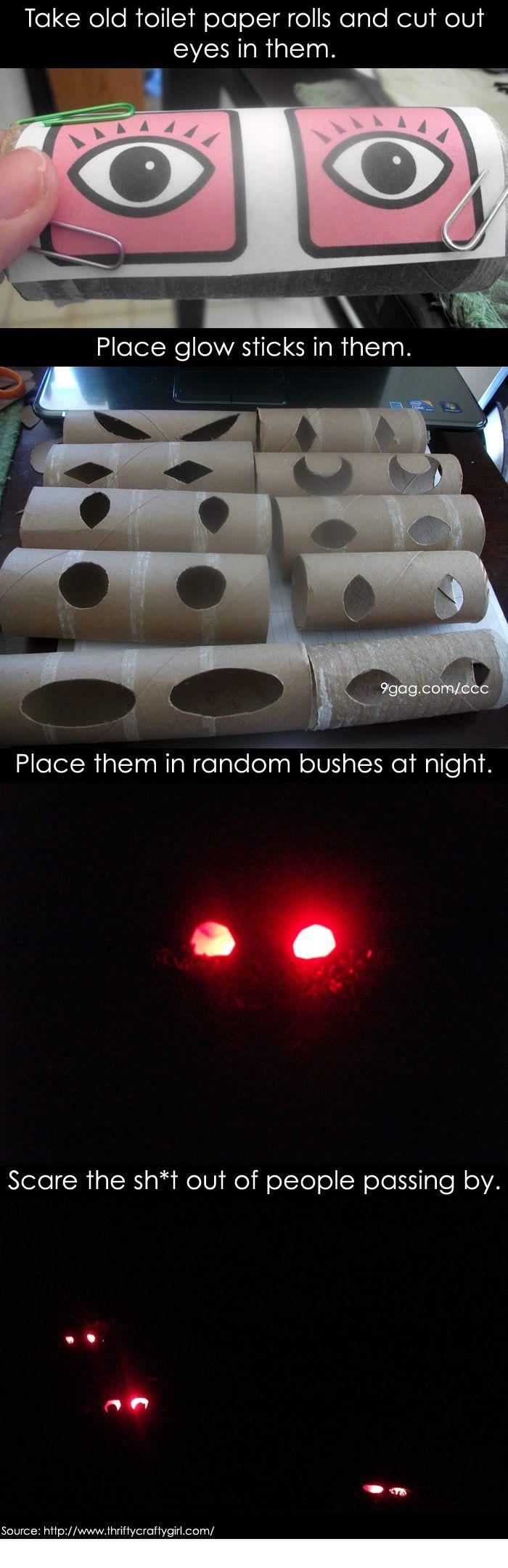 Eyes in the bushes prank