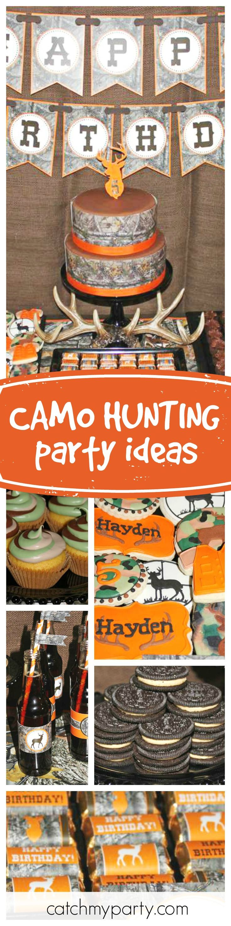 Check out this great camo hunting birthday party. Love the themed cookies! See more party ideas and share yours at CatchMyParty.com