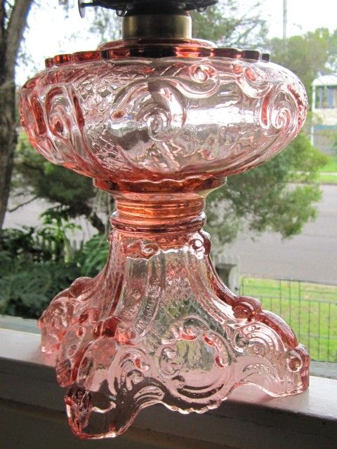 LOVE Pink Depression Glass...I have a lamp a lt like this Mine has hearts on it.