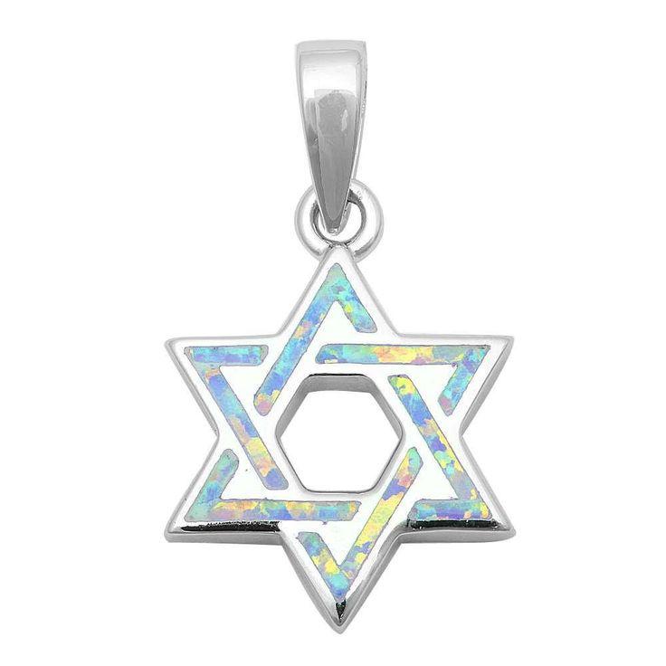 "1.1"" Star Of David Jewish Star Pendant Charm Solid 925 Sterling Silver Lab Created White Opal Jewish Star of David Jewelry"