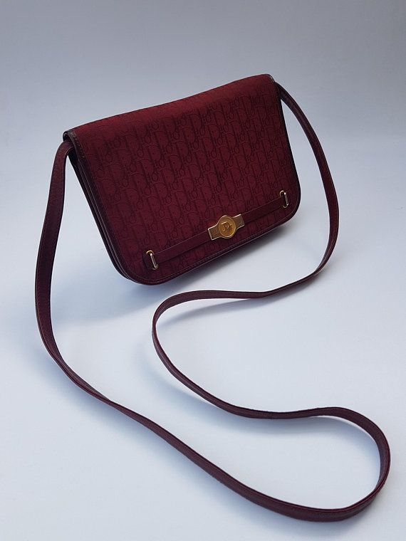 43057446b17a DIOR Bag. Christian Dior Vintage Burgundy Monogram Shoulder   Clutch ...