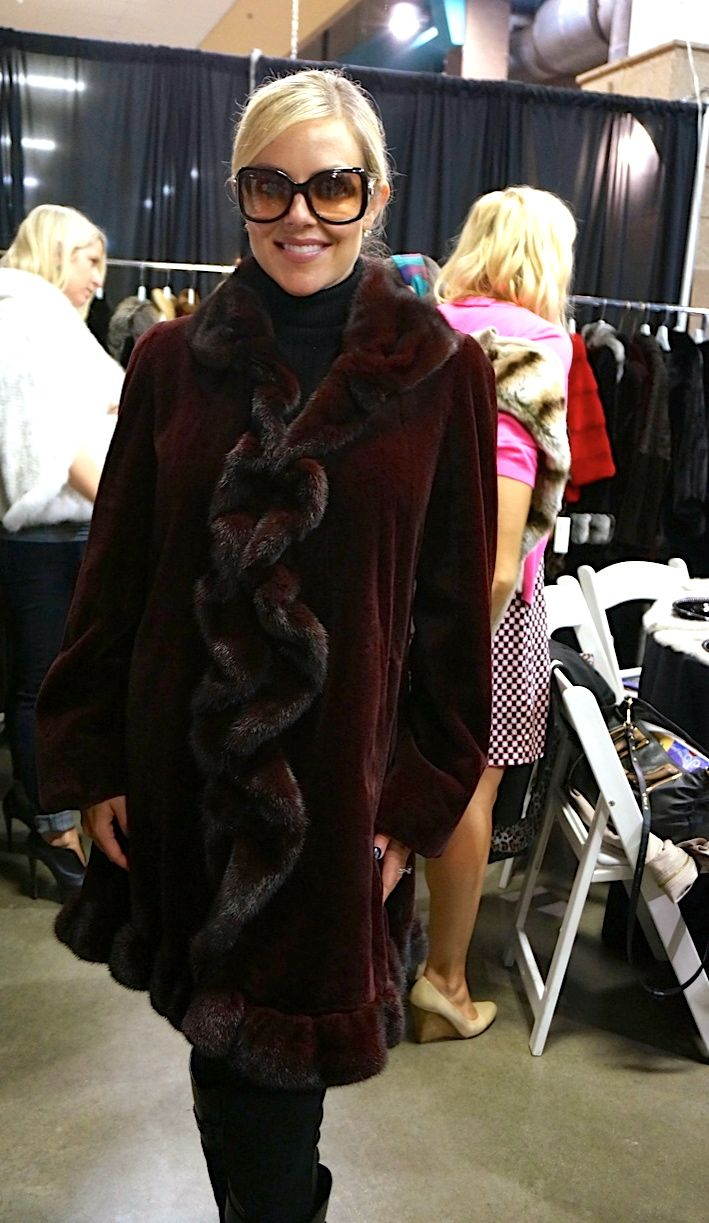 Modeling a Merlot Sheared Mink Stroller - #AlaskanFur #AFC #KansasCity #KC #Fashion #Fur #Charity #Fall #Winter #FallFashion #Jackets #Coats #Womenswear #Model #BTS #Designer #lookbook #beautiful #glamorous #glam #leather #cashmere #workit #Tablescapes2013 #Tablescapes #BOTAR #AmericanRoyal #TheAmericanRoyal