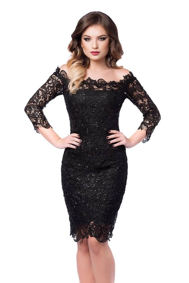 Midi little black dress made from lace with sequins embroidery:https://missgrey.org/en/dresses/midi-black-evening-lace-dress-with-sequins-embroidery-zaira/603?utm_campaign=octombrie&utm_medium=rochie_zaira_neagra&utm_source=pinterest_produs