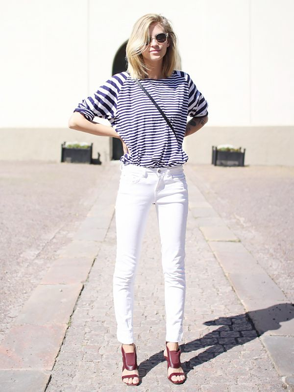Striped top, white jeans, and leather sandals