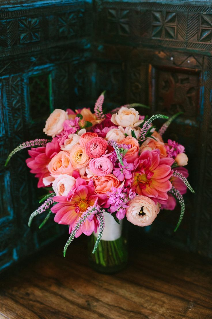 lush pink & peach wedding bouquet! ~  The prettiest PINK flowers for your weddin…
