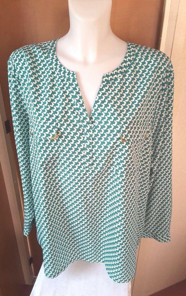 0dd53e9c38b51 Damart Green   White Blouse Size 26 Pull over blouse  Damart  Blouse  Casual