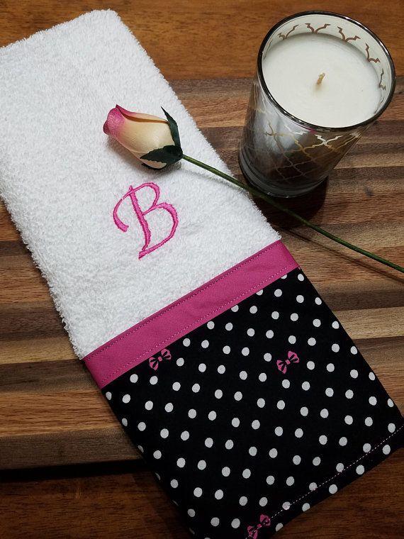 Polka Dot Decorative Towel Pink And Black Towel Kitchen Etsy Decorative Towels Embroidered Towels Custom Towel