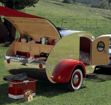 When (If?) we ever retire, I want to travel the country with my honey in a teeny tiny teardrop trailer. If it could be shiny like this that would be nice.