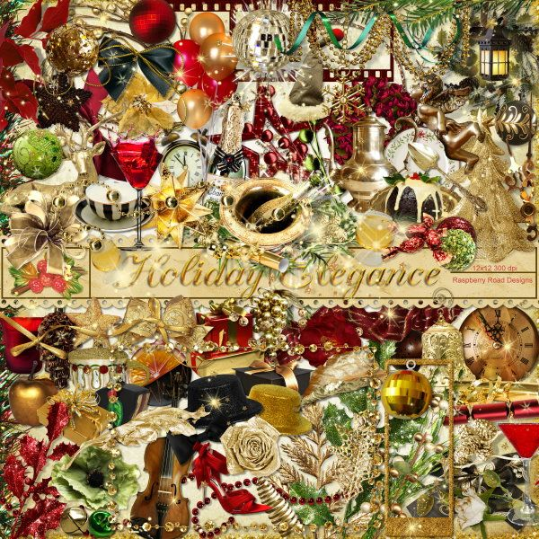 A holiday entertaining style Christmas themed scrapbook collection from Raspberry Road.