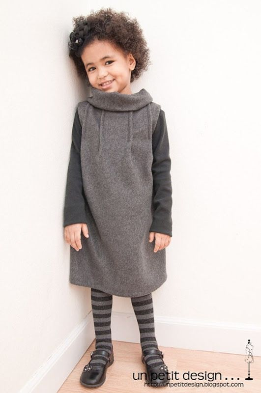 Girls fleece DIY dress sewing pattern and tutorial