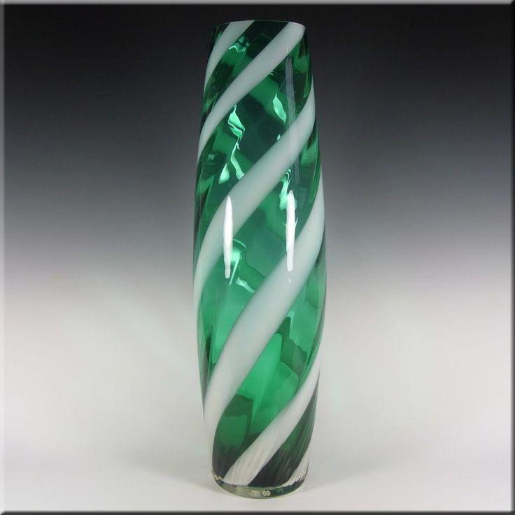 Alrose Massive Italian Empoli Green & White Glass Vase - £99.99
