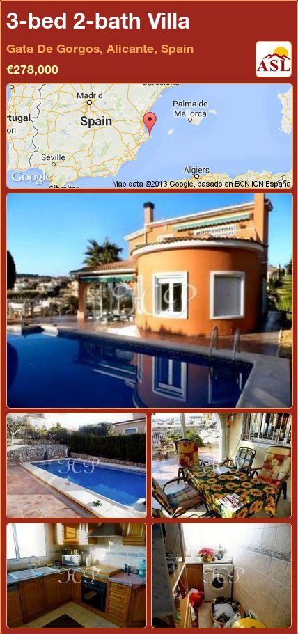 3-bed 2-bath Villa in Gata De Gorgos, Alicante, Spain ►€278,000 #PropertyForSaleInSpain