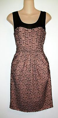 Moulinette Soeurs Hot Cocoa Brown Sleeveless Dress w/Sheer Yoke Womens 0 EUC
