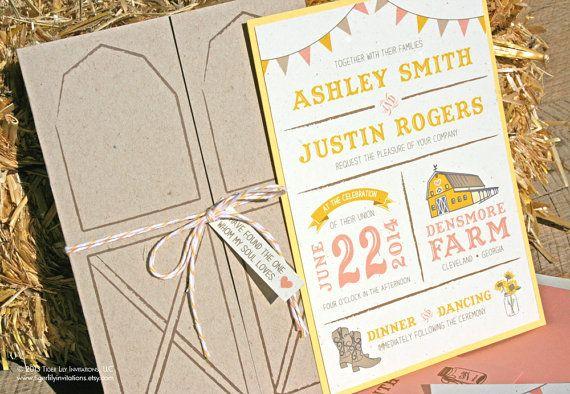 Barn Wedding Invitation Set Sample by TigerLilyInvitations on Etsy, $5.00