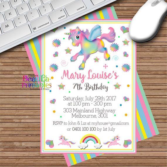 Birthday Party Invitations Unicorn Kaleidoscope  Invitation