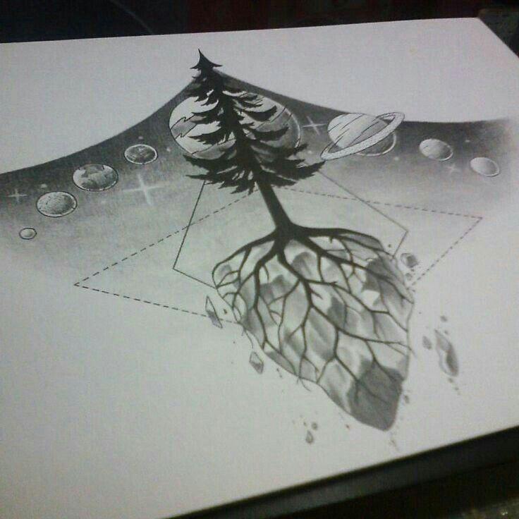 Underboob tattoo planets ink