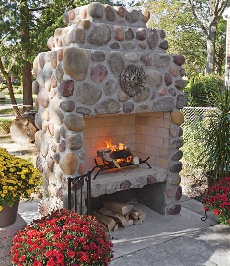 Beautiful River Rock Fireplace Cast Veneer Stone Inside