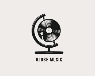 I like how the use of the record and the globe are combined to show the brand name and what their brand depicts