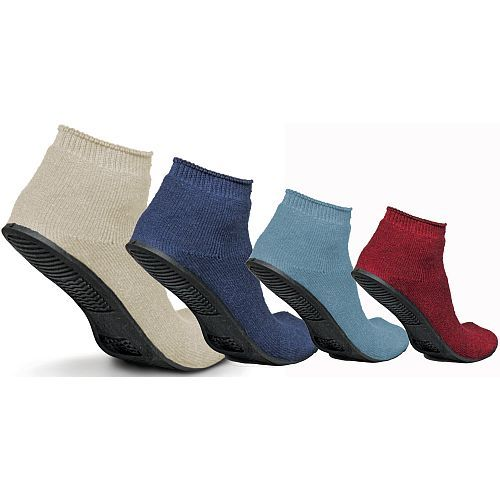 diabetic socks for women with grip soles | Medline Terry Cloth Sure Grip Rubber Sole Slipper Socks