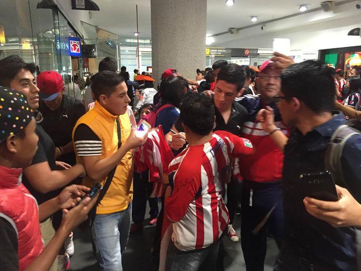 PROVOCA CAOS LLEGADA DE CHIVAS A CIUDAD DE MÉXICO El Rebaño Sagrado arribó al Aeropuerto Internacional de la Ciudad de México, en medio de tumultos por parte de un gran número de seguidores.