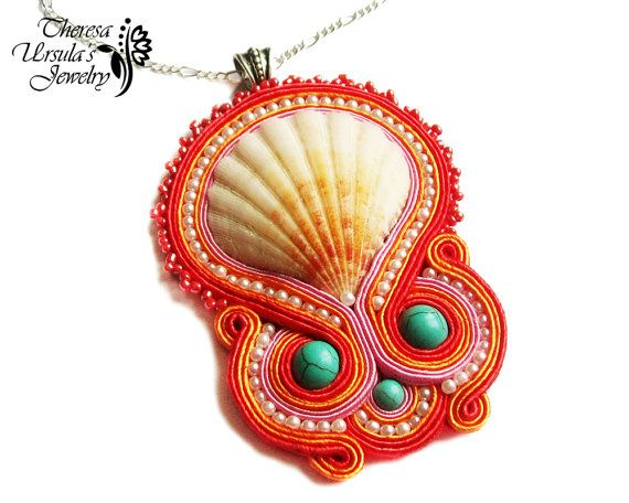CORAL REEF beautiful soutache seashell by TheresaUrsulasArt, zł170.00.. great use of shell!