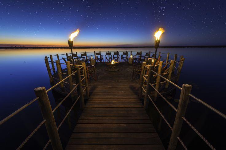 The wonderful lagoon star deck at Duma Tau #safari camp in #Botswana. Photo by Dana Allen.