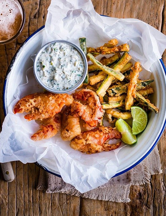 Fried Lobster and Chips Recipe Put a sophisticated modern twist on the classic British fish and chips with this recipe for lobster goujons with courgette fries