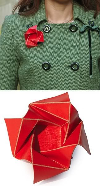 leather origami brooch :>