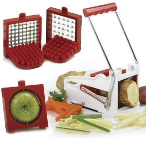 DELUXE FRENCH FRY CUTTER/FRUIT WEDGER http://www.coast2coastkitchen.com/store/specialty-kitchen-tools/deluxe-french-fry-cutterfruit-wedger