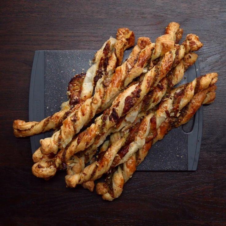 Cheesy Pesto Twists Recipe by Tasty