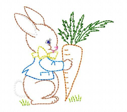 Bunny and Carrot Machine Embroidery Design by MommysApronStrings